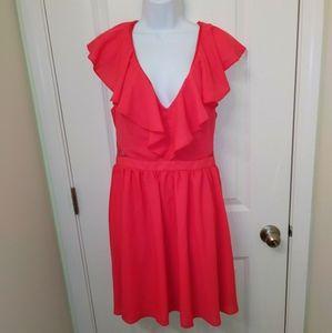 ASOS Pink Ruffle Cutout Mesh Side Mini Dress 14